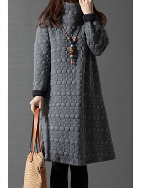latest Turtleneck A-Line Thermal Dress - GRAY XL Mobile