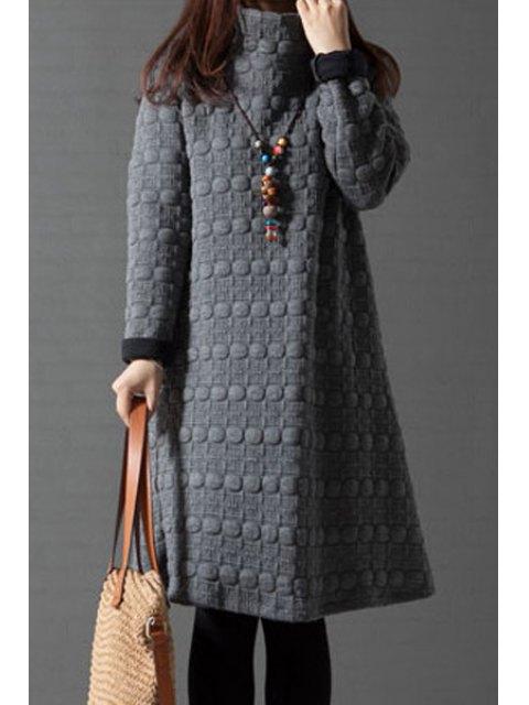 shops Turtleneck A-Line Thermal Dress - GRAY 2XL Mobile