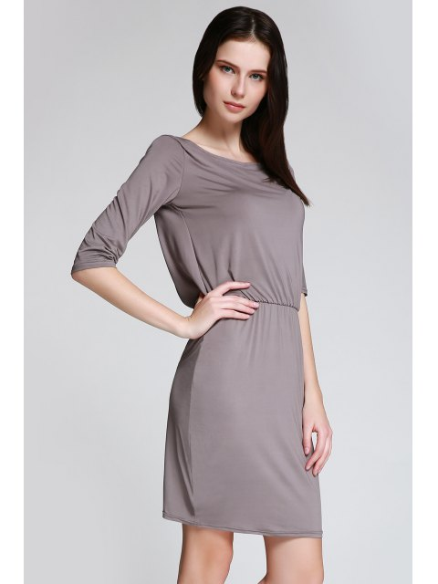 affordable Open Back 3/4 Sleeve Bodycon Dress - GRAY M Mobile