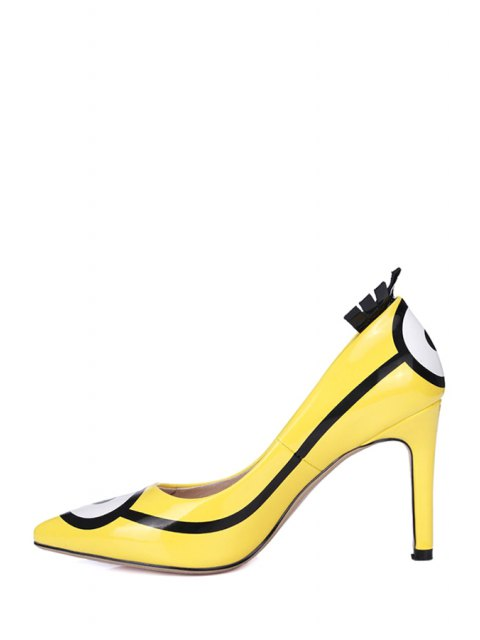 best Pointed Toe Minions Print Stiletto Heel Pumps - YELLOW 34 Mobile