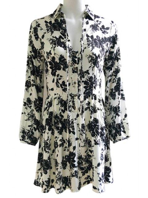 best Wash Painting Shirt Collar Lace Up Dress - BLACK L Mobile