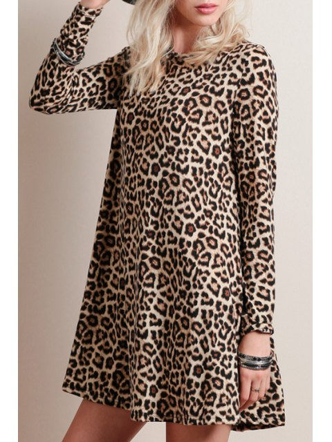 lady Leopard Print Round Collar Long Sleeve Dress - LEOPARD S Mobile