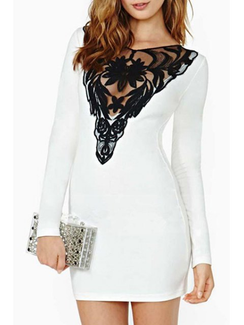 outfit Lace Hook Spliced V-Neck Long Sleeve Dress - WHITE 2XL Mobile