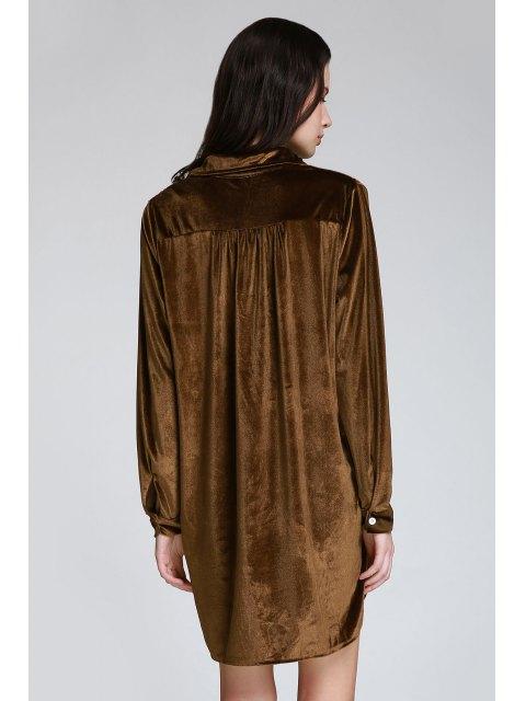 unique Cozy Velvet Long Sleeve Shirt Dress - BROWN M Mobile