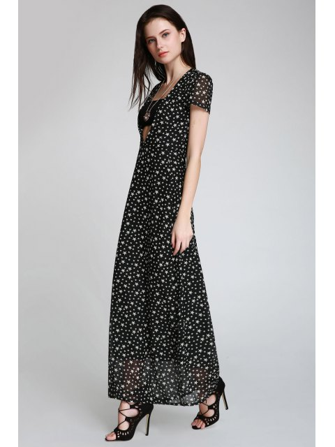 hot Full Star Print Maxi Plunge Dress - BLACK M Mobile