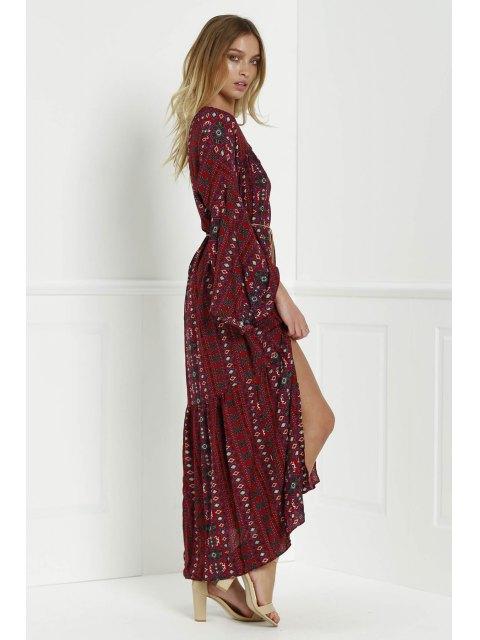 best Bell Sleeve Tribal Pattern Print Dress - RED L Mobile