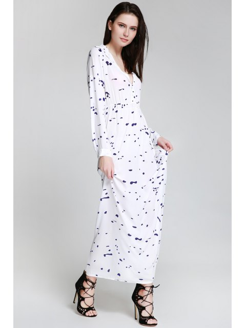 lady Ink Print Shirt Neck Long Sleeve Maxi Dress - WHITE M Mobile