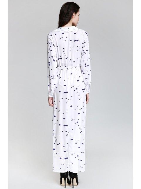 online Ink Print Shirt Neck Long Sleeve Maxi Dress - WHITE L Mobile