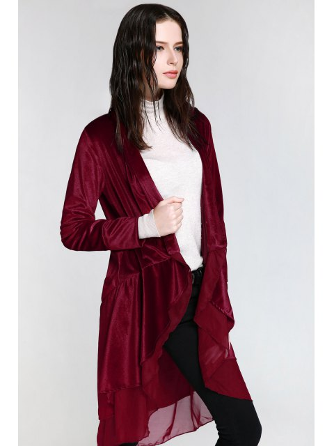 ladies Swingy Velvet Long Sleeve Coat - CLARET M Mobile