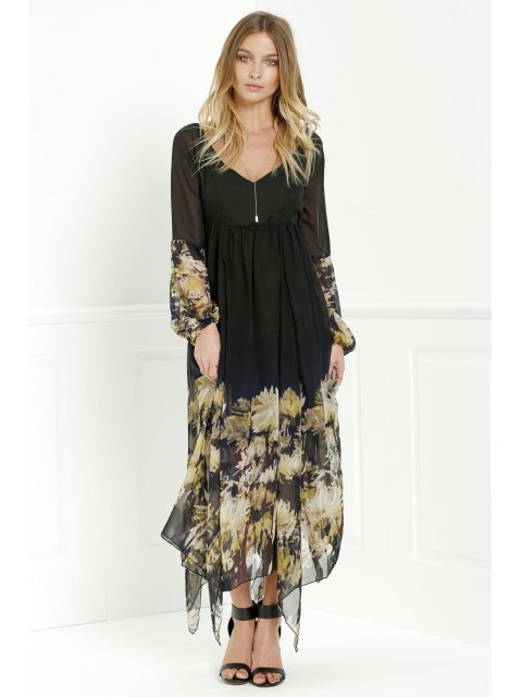 lady Long Sleeve Printed Maxi Chiffon Dress - BLACK XL Mobile
