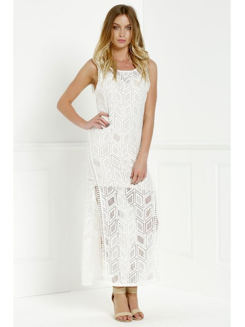 lady Hollow Back Openwork Lace Hook Slit Dress - WHITE XL Mobile