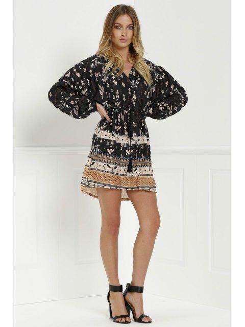 fancy Retro Print V Neck Long Sleeves Dress - BLACK M Mobile
