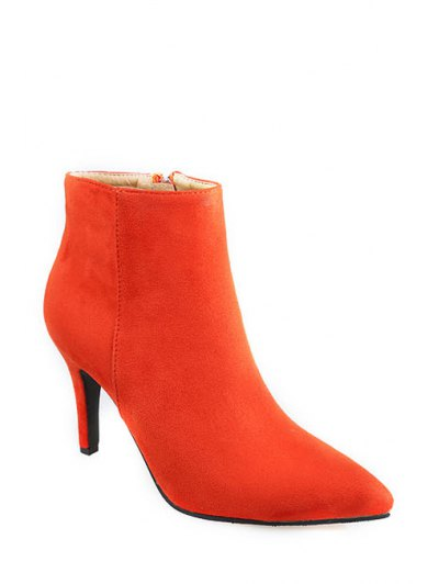 Pointed Toe Solid Color Suede Ankle Boots - Jacinth