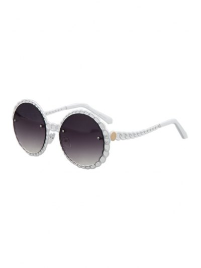 Hollow Out Brim Round Sunglasses - White