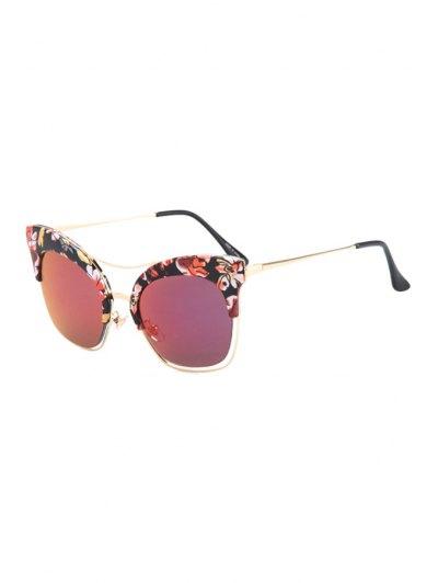Flower Quadrate Cat Eye Sunglasses - Colormix