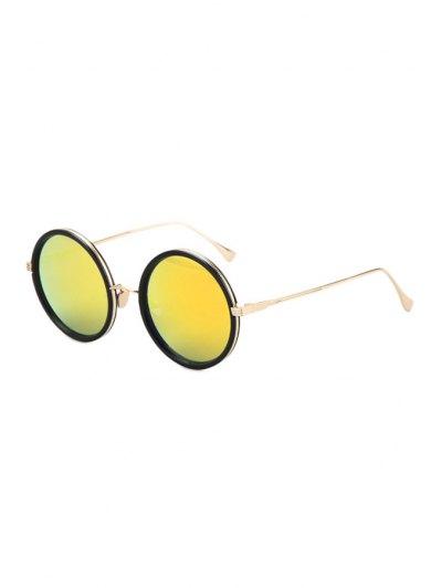 Retro Metal Round Sunglasses - Yellow