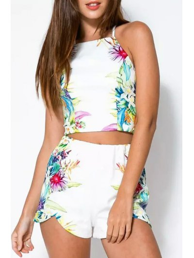 Cami Floral Print Tank Top and Shorts Suit