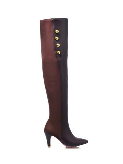 Splicing Golden Button Pointed Toe Thigh Boots - Coffee