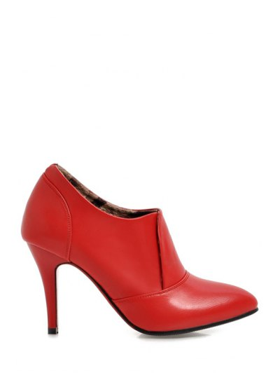 Pointed Toe Solid Color Ankle Boots - Red 34