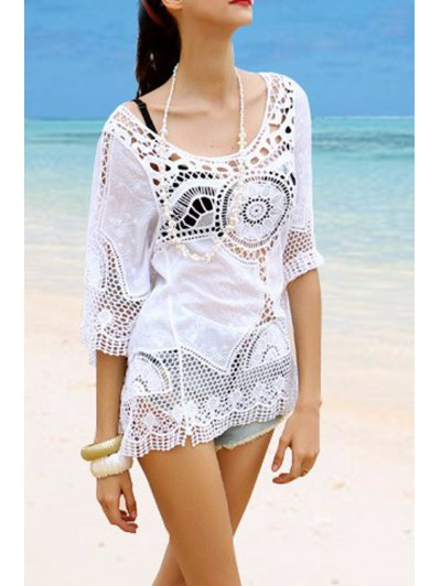 Hollow Out Scoop Neck Half Sleeve Cover-Up - White One Size(fit Size Xs To M)