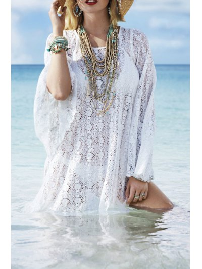 White Lace Long Sleeve Cover-Up - White One Size(fit Size Xs To M)