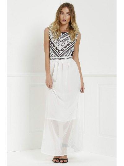 Round Neck Sleeveless Geometric Print Chiffon Maxi Dress