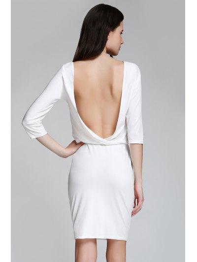 Open Back 3/4 Sleeve Bodycon Dress - White
