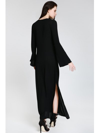 Embroidered Plunging Neck Long Sleeve Maxi Dress от Zaful.com INT