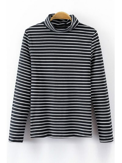 Turtle Neck Long Sleeve Striped T Shirt