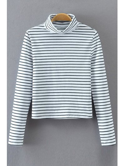 Long Sleeve Turtle Neck Striped T Shirt