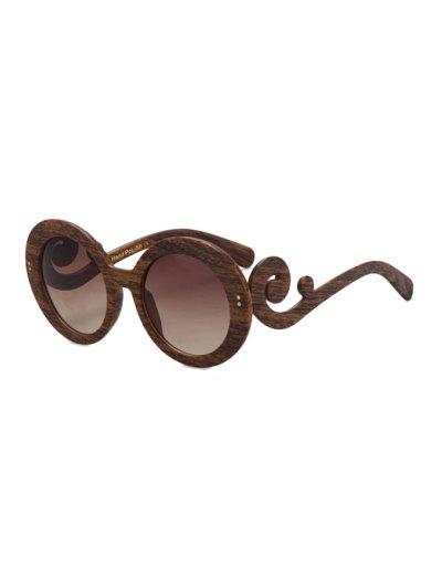 Rattan Shape Wood Pattern Sunglasses - Brown