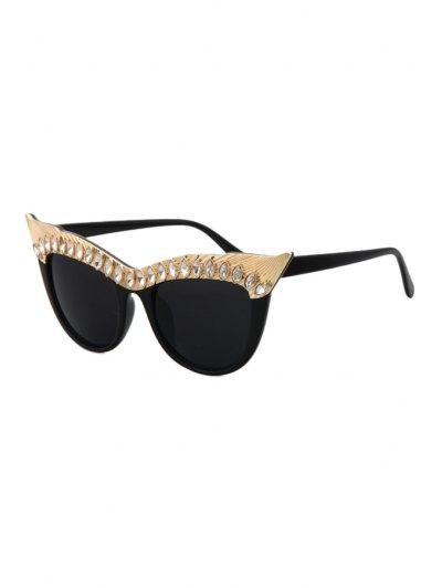 Rhinestone Cat Eye Sunglasses - Black
