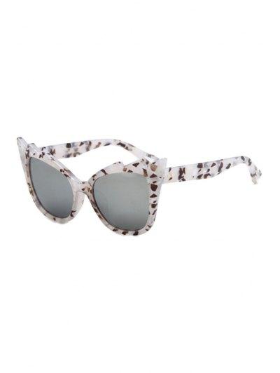 Stone Pattern Cool Cat Eye Sunglasses - White
