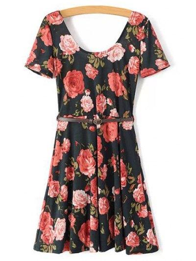 Scoop Neck Short Sleeve Full Floral A Line Dress
