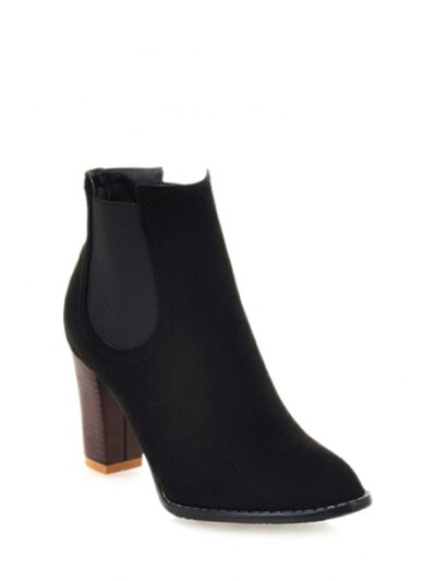 Elastic Band Solid Color Suede Ankle Boots - Black