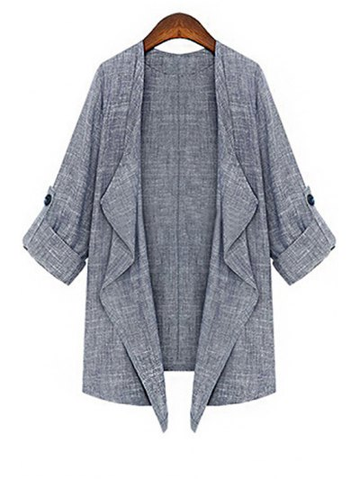 Solid Color 3/4 Sleeve Open Front Coat - Gray