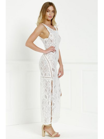 Hollow Back Openwork Lace Hook Slit Dress - White