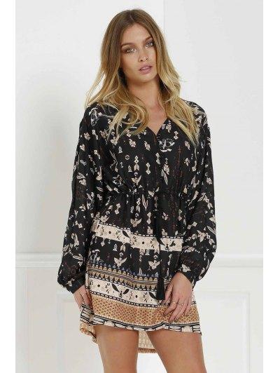 Retro Print V Neck Long Sleeves Dress - Black M