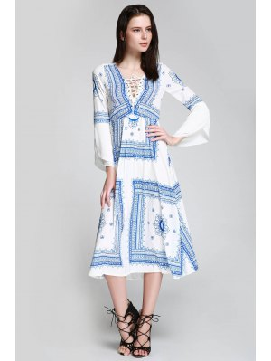 Floral Print Tie Up Long Sleeve Dress - Blue And White M