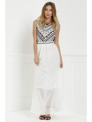 Backless Geometric Print Chiffon Maxi Dress - White Xl
