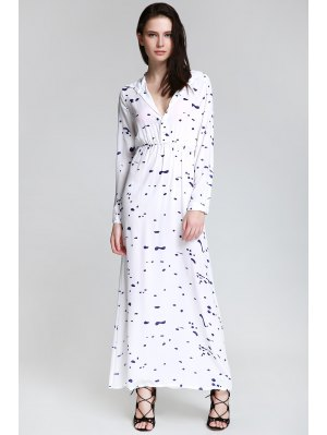Ink Print Shirt Neck Long Sleeve Maxi Dress - White