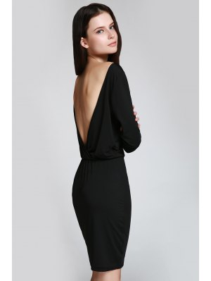 Open Back 3/4 Sleeve Bodycon Dress - Black