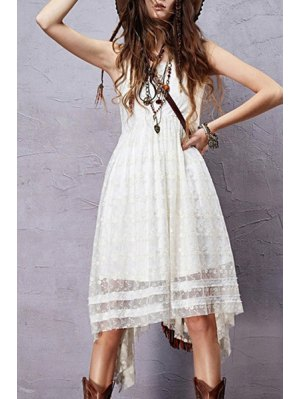 Sleeveless Embroidered Irregular Hem Dress - White