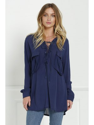 Loose V Neck Long Sleeve Blouse - Cadetblue