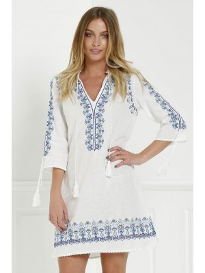 Floral Embroidery Plunging Neck 3/4 Sleeve Dress - White