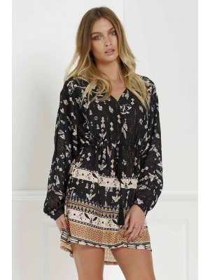 Retro Print V Neck Long Sleeves Dress - Black