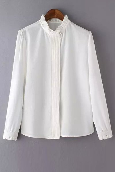 Long Sleeve Solid Color Agaric Collar Blouse