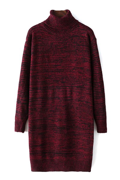 Buy Turtleneck Long Sleeve Mixed Color Sweater RED ONE SIZE(FIT SIZE XS TO M)