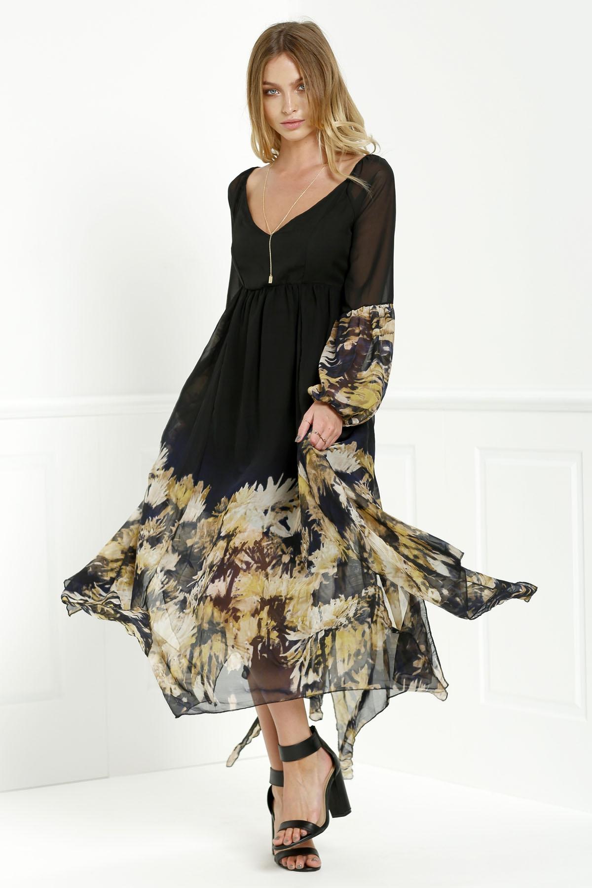 Long Sleeve Printed Maxi Chiffon Dress