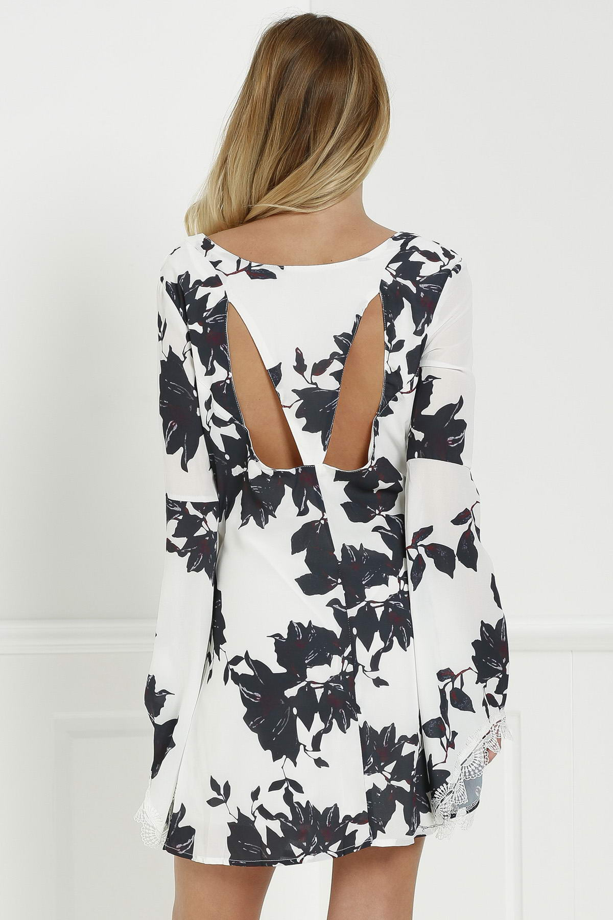 V Neck Long Sleeve Black Floral Cut Out Dress